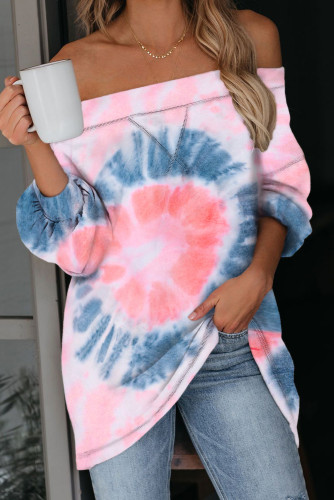 Pink Off The Shoulder Tie-dye Knit Top