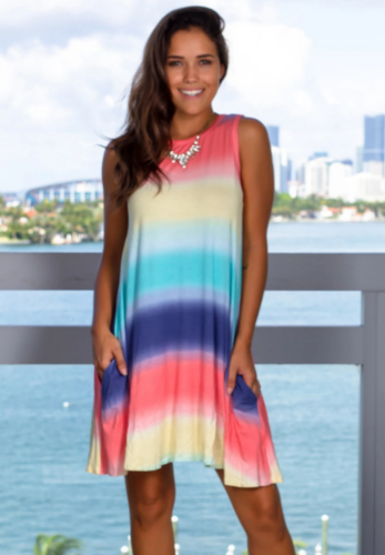 Ombre Colorblock Rainbow Dress