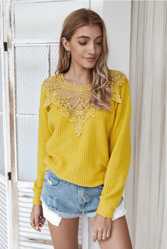Yellow Lace Collar Sweater