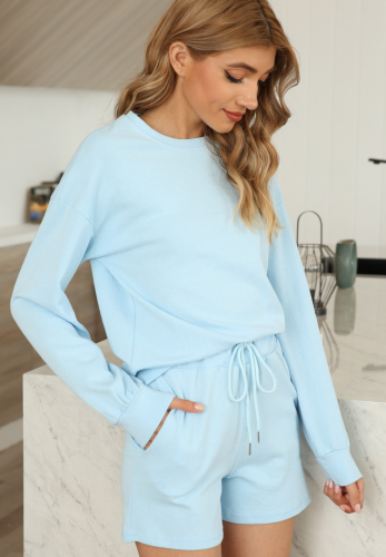 Solid Loungewear 2pcs Set with Pocket