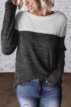 Black Colorblock Crochet Hollow Out Long Sleeve Top