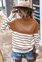 Brown Stripe Turtleneck Pullover Sweater