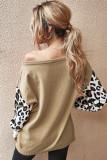 Apricot Leopard Sleeve Sweater