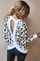 White Leopard Pullover Sweater
