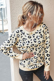 Apricot Leopard Pullover Sweater
