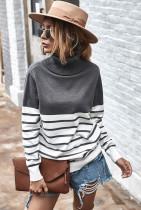 Grey Stripe Turtleneck Pullover Sweater
