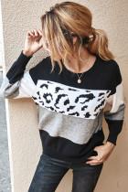 Black Color Block Leopard Sweater