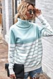 Blue Stripe Turtleneck Pullover Sweater