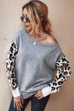 Grey Leopard Sleeve Sweater
