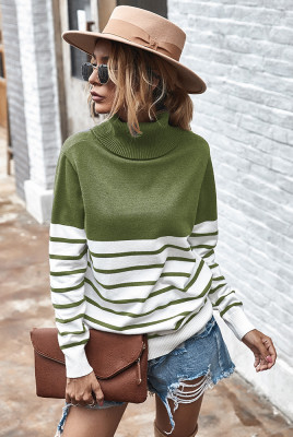 Green Stripe Turtleneck Pullover Sweater