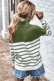 Green Stripe Turtleneck Pullover Sweater