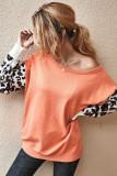 Orange Leopard Sleeve Sweater
