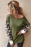 Green Leopard Sleeve Sweater