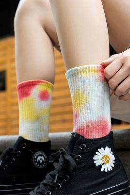 Red Tie-dye Mid-length Stockings