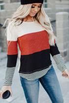 Stylish Colorblock Splicing Stripes Top