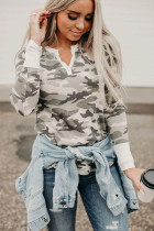Long Sleeve Cutout V Neck Camo Top