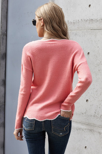 Pink Wavy V-neck Sweater LC272011
