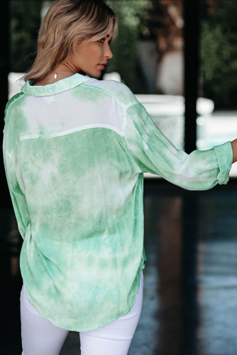 Green Whirlwind Tie Dye Button Shirt with Pocket LC255009