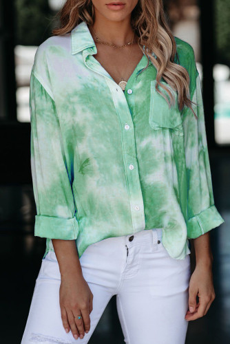 Green Whirlwind Tie Dye Button Shirt with Pocket