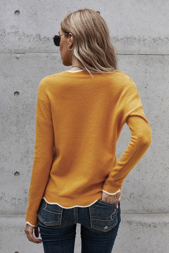Yellow Wavy V-neck Sweater LC272011