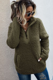 Army Green Fluffy Pullover Zipper Sweatshirt with Pocket