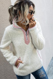 White Fluffy Pullover Zipper Sweatshirt with Pocket