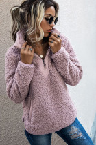 Pink Fluffy Pullover Zipper Sweatshirt with Pocket