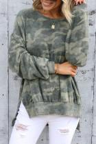 High-low Edge Camo Print Sweatshirt