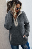 Dark Grey Fluffy Pullover Zipper Sweatshirt with Pocket