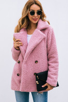Pink Button Lapels Plush Coat with Pocket