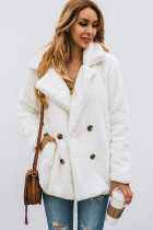 White Button Lapels Plush Coat with Pocket