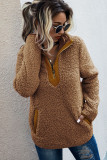Camel Fluffy Pullover Zipper Sweatshirt with Pocket