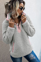 Light Gray Fluffy Pullover Zipper Sweatshirt with Pocket