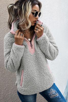 Light Gray Fluffy Pullover Zipper Sweatshirt with Pocket