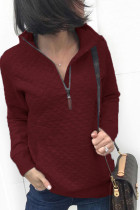 Wine Red Lattice Sweatshirt with Kangaroo Pocket