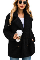 Black Button Lapels Plush Coat with Pocket
