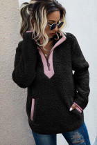Black Fluffy Pullover Zipper Sweatshirt with Pocket