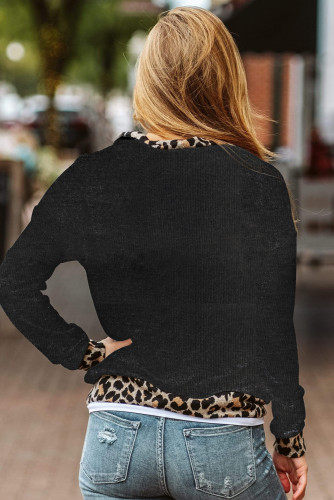 Leopard Detail Black Zip Neck Pullover LC253805