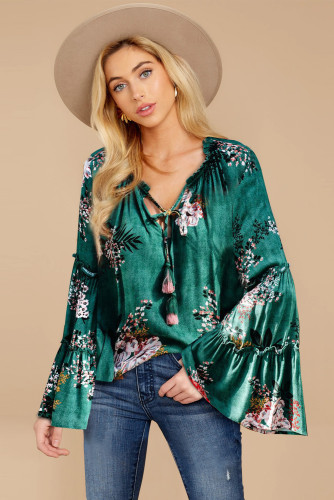 Green Floral Bell Sleeve Top