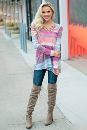 Make Believe Multi Colored Striped Criss Cross Top LC2521409
