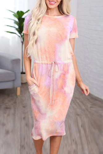Orange Tie-dye Cotton T-shirt Dress