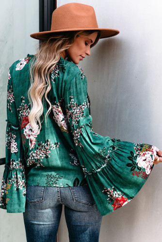 Green Floral Bell Sleeve Top LC2511072