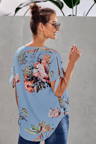 Sky Blue Floral Twist Top LC252179