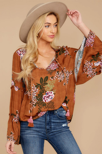 Orange Floral Bell Sleeve Top