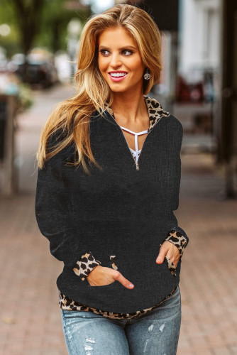 Leopard Detail Black Zip Neck Pullover