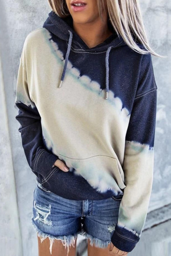 Hooded Tie Dye Print Pocket Casual Sweatshirt