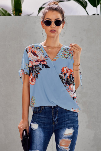Sky Blue Floral Twist Top