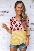 Yellow Long Sleeve Leopard Stripe Print Casual Top