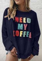 Letter Print Plus Size Sweatshirts with Pocket