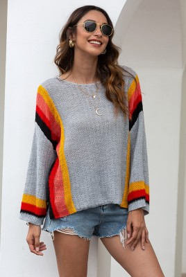 Colorblock Knit Hollow Out Sweater